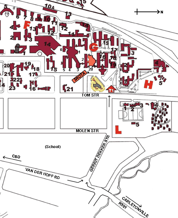 nwu potchefstroom campus map Section Of Campusmap Around Iwota Venue nwu potchefstroom campus map